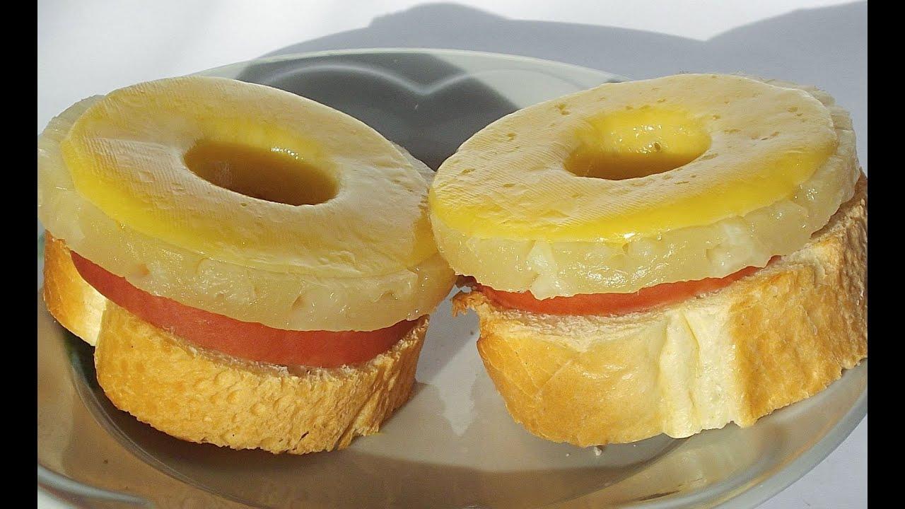 Бутерброды горячие с ветчиной и ананасом рецепт 153
