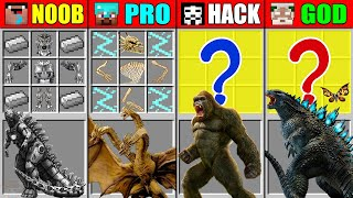 Minecraft NOOB vs PRO vs HACKER vs GOD Godzilla vs Kong CRAFTING Mutant Monsters CHALLENGE Animation