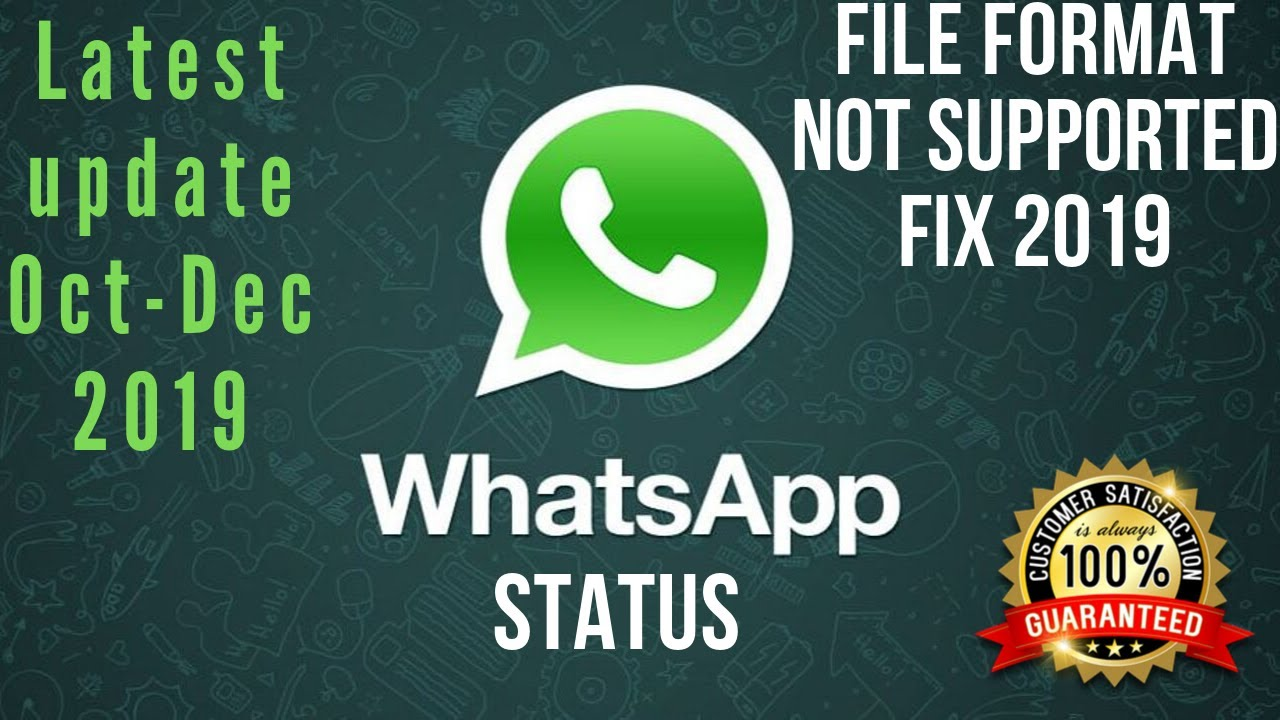 Whatsapp Status File Format Not Supported Full Fix 20192020 100 Working Latest Update