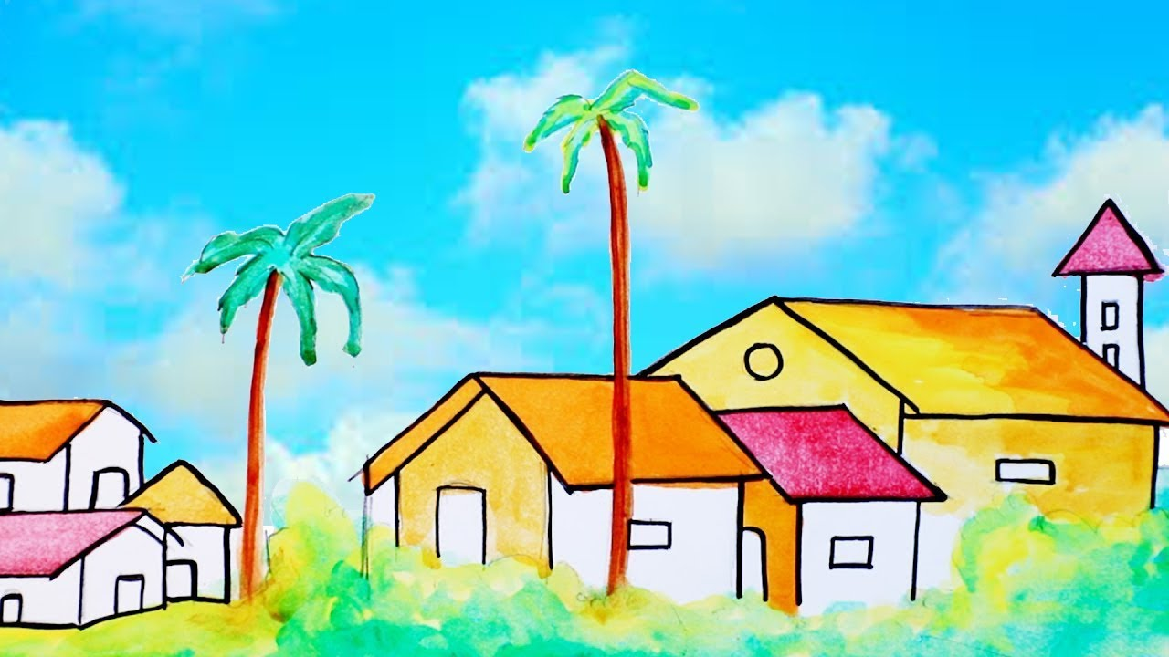 scenery paintings how to draw scenery of housespainting for childrenstep by step drawing for kids - Children Painting Images