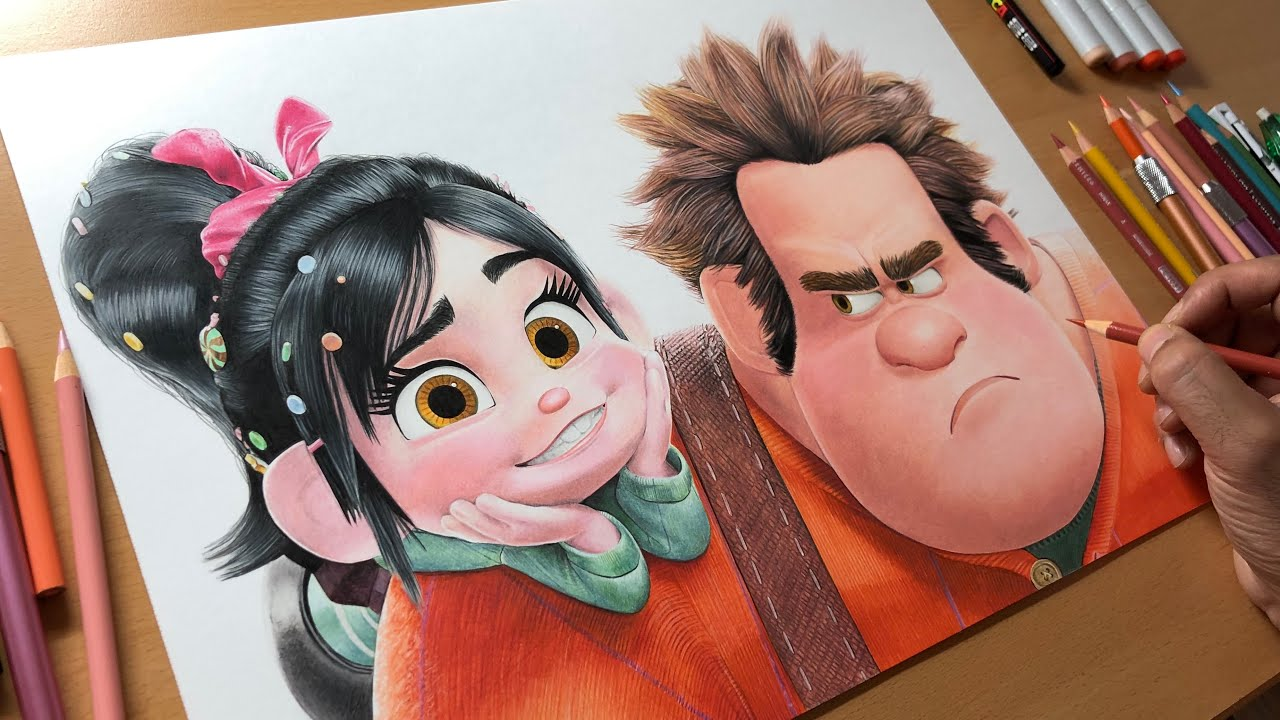Drawing Ralph & Vanellope (Wreck-it Ralph) - Timelapse | Artology