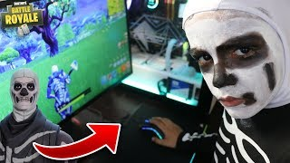 Little Brother Turns Into Real Life Skull Trooper Skin In Fortnite! Funny!