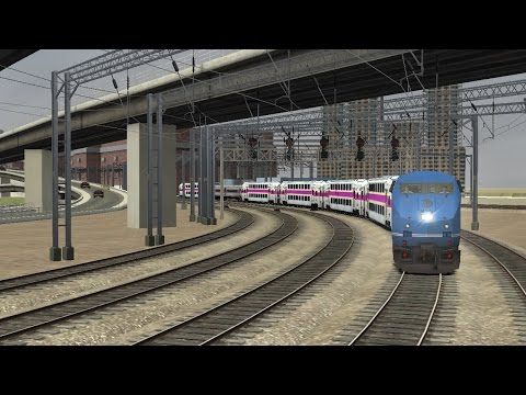 TS2016: P32DC HSP mod w/ MBTA Multilevels Boston South South Station to Providence