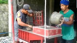 Building a house in Southern Leyte Philippines part 16. Making our own hollow blocks.