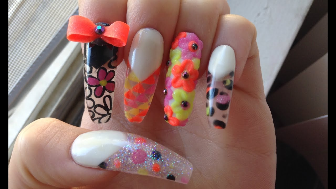 3D Neon Summer Acrylic Nail Art Tutorial - YouTube