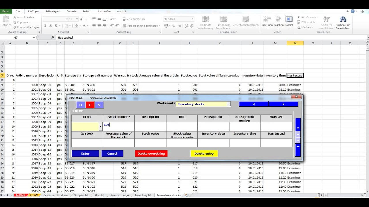 Create Databases In Excel From A Flexible Input Mask Inventory Stocks
