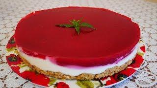 Торт без выпечки МАЛИНОВАЯ НЕЖНОСТЬ простой быстрый рецепт торта