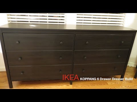 the latest 4580a 4b985 IKEA KOPPANG Dark-Brown, 6-Drawer Dresser Assembly - YouTube