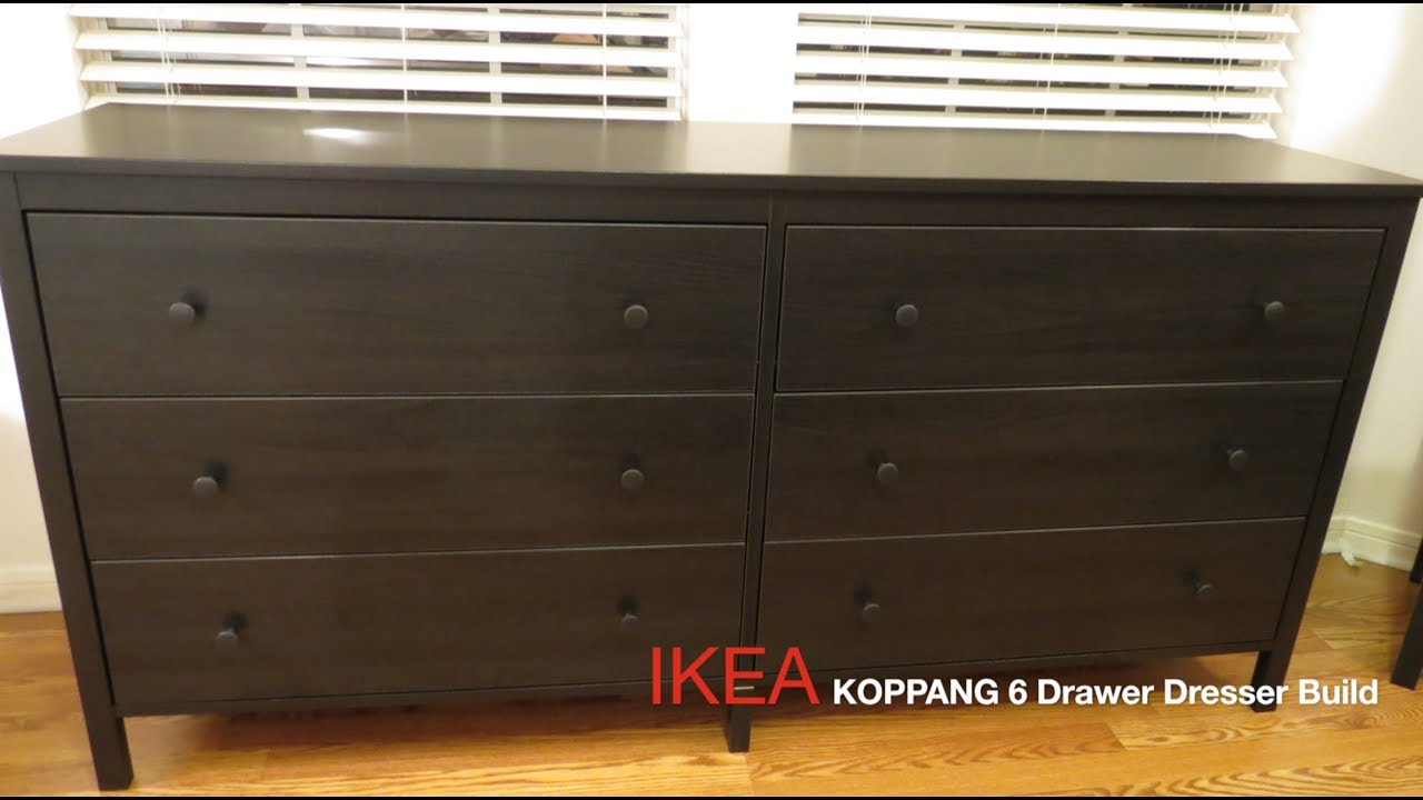 Ikea Koppang Dark Brown 6 Drawer Dresser Assembly Youtube