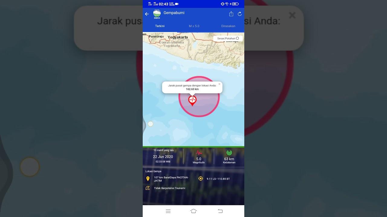 Lokasi Gempa HARI INI 22 Juni 2020 / 02:33 WIB | Lokasi di ...