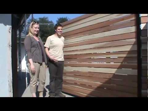 Custom 1x4 Redwood Horizontal 8 Foot Wide Single Swinger Wood Driveway Gate Los Angeles Area