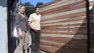 Custom 1x4 Redwood Horizontal 8 Foot Wide Single Swinger Wood Driveway Gate