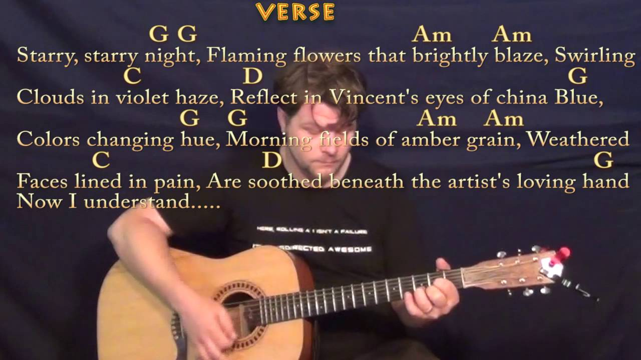 Vincent Starry Starry Night Don Mclean Guitar Lesson Chord Chart