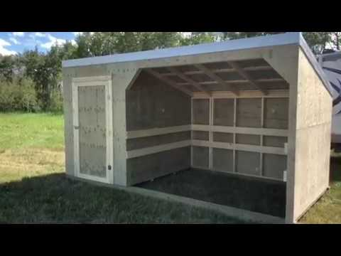 Horse Shelter Plus Tack Room, 8'x16', Pressure Treated Plywood, Galvalume Roof