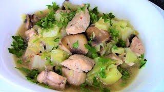 Рагу из капусты с грибами и курицей - аромат такого вкусного блюда никого не оставит равнодушным!