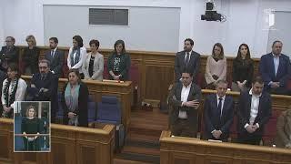 Minuto de silencio por los últimos asesinatos machistas en Castilla-La Mancha. Pleno 16-01-2020.