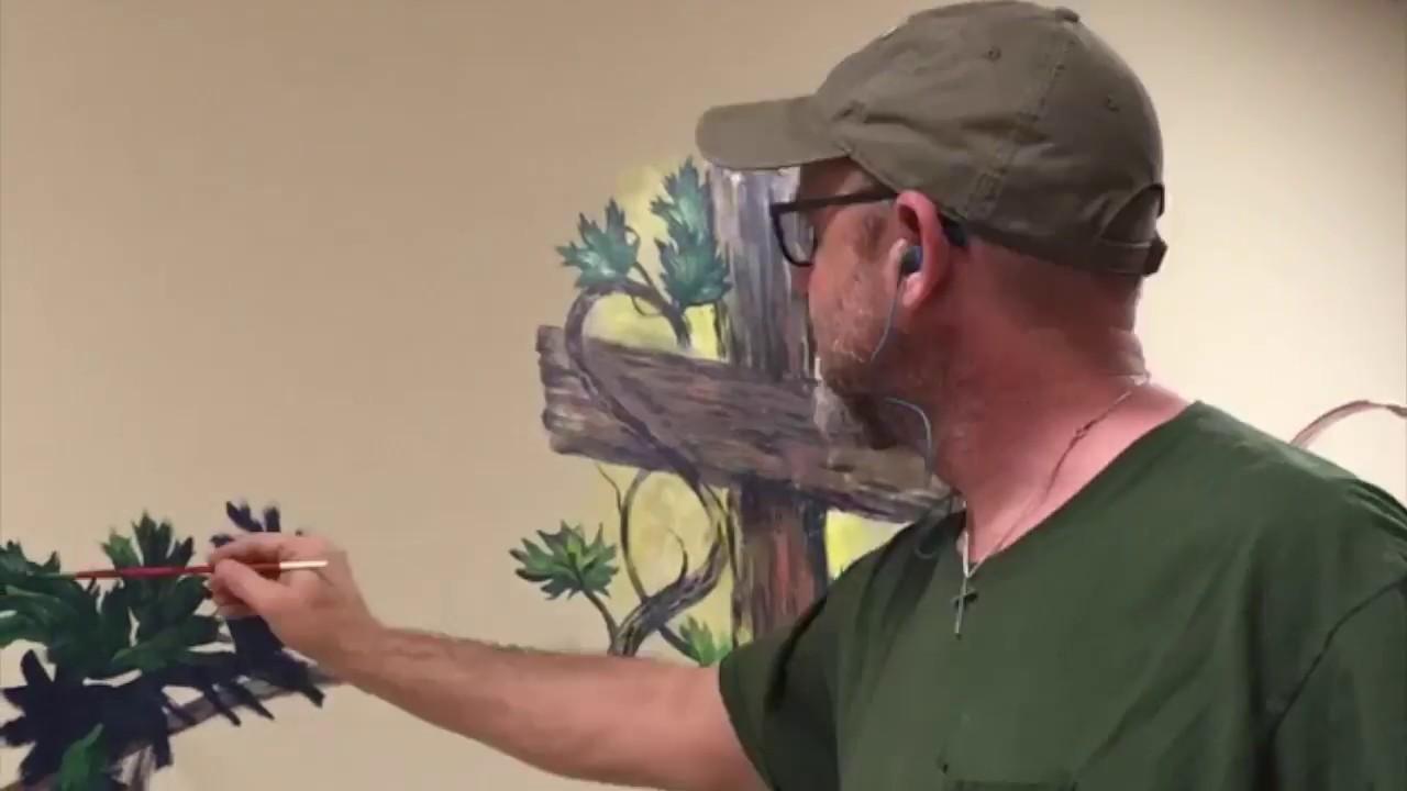 """The Vine,"" Craig Marshal Wilson, Summer 2018, Acrylic Mural, 5' x 20'"