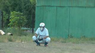 Playing catch with homemade baseball gloves
