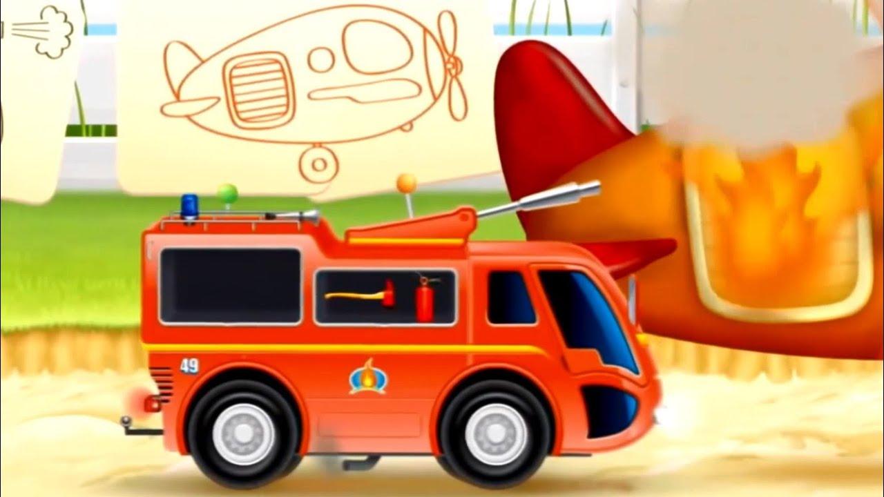 çizgi Film Itfaiye Arabası Uçak Söndürme Araçları Youtube