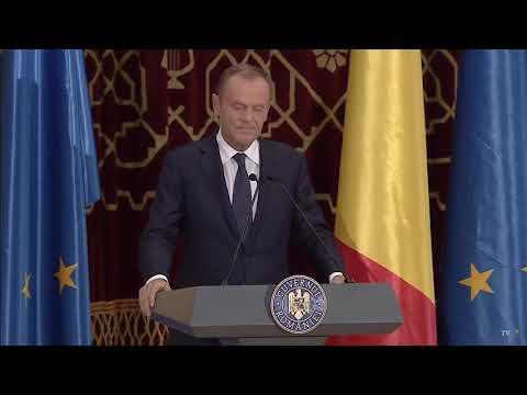 Discursul in romana tinut de Donald Tusk, preşedintele Consiliului European
