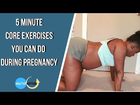 5 Mins Pregnancy Core Exercises you can do in any Trimester | Lower Back Pain Relief