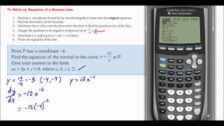 IB Math Studies: Tangent and Normal Lines (Calculus)