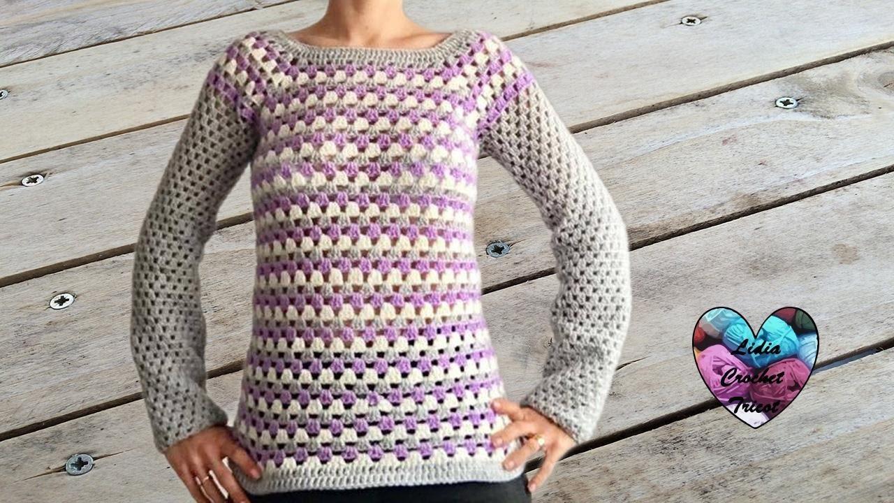 c8ccbe418755 Pull granny facile (toutes tailles) crochet   Granny sweater (all ...