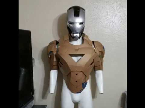 Iron man mark 6 cardboard hall of armor build youtube for Iron man suit template