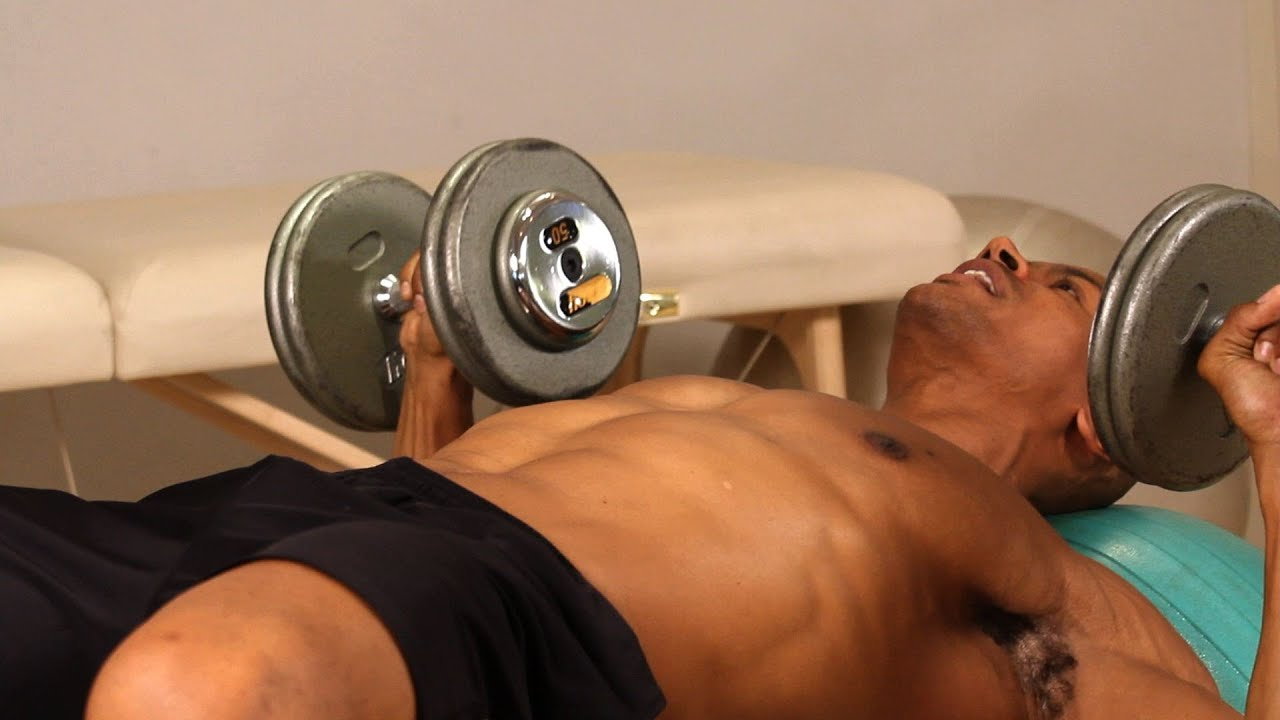 How to Do Exercise Ball Dumbbell Press   Chest Workout ...