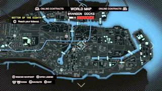Watch Dogs - World Map Legend (early In Game) Online Contacts, Gunshops, L-train, Ctos Towers Ps4