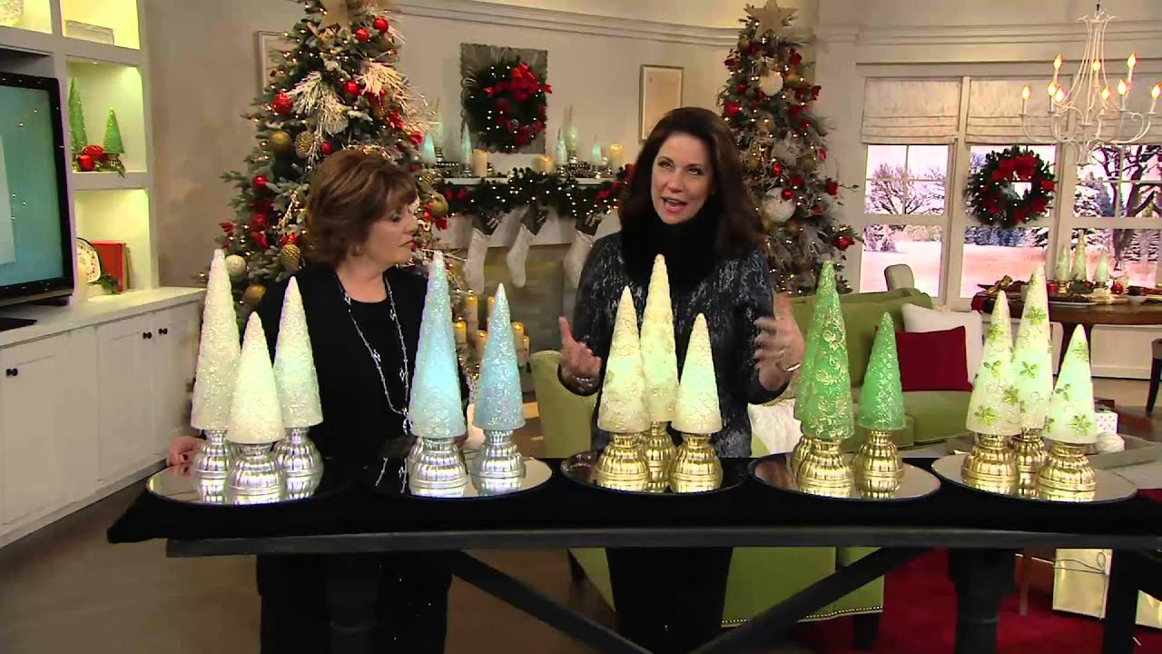 set of 3 illuminated glistening wax trees by valerie on qvc