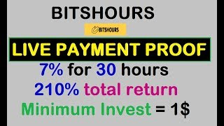 LIVE PAYMENT PROOF || 7% hourly for 30 hours|| NEW HYIP LAUNCHED || bitshours || MIN INV = 2$