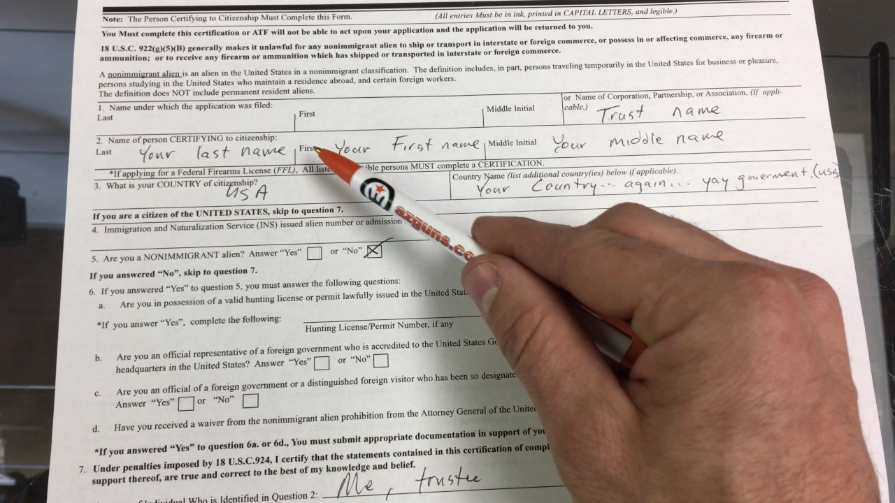 Filling Out New Form 4 For The Atf As A Trust Youtube