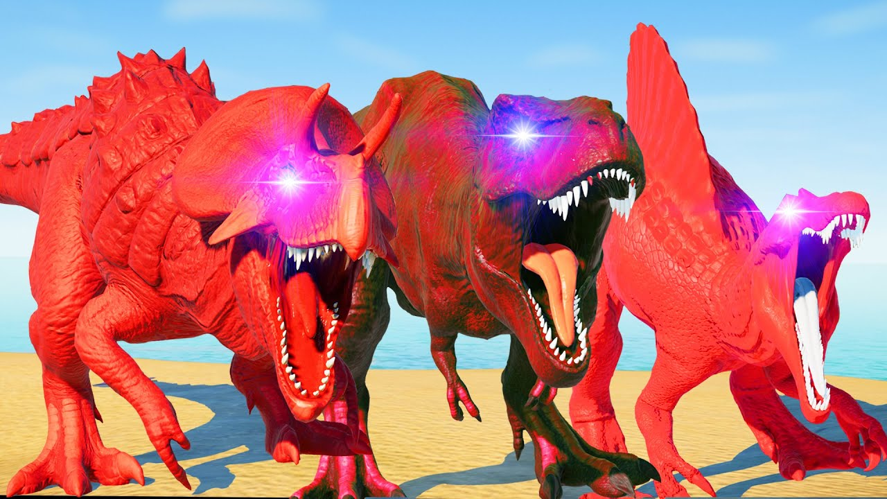 (Jurassic World Evolution🌍)Red T-Rex,Red Spino,Red Ultima Dinosaurs Fight