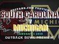 Michigan vs South Carolina - Outback Bowl Preview & Computer Model Prediction 2017 2018 USC