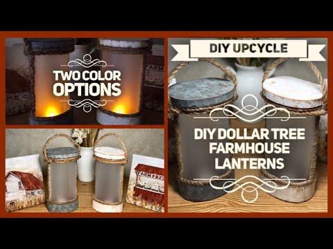 DIY Dollar Tree Farmhouse Galvanized & Rustic Lantern - Upcycle DIY - Farmhouse Lanterns Room Decor