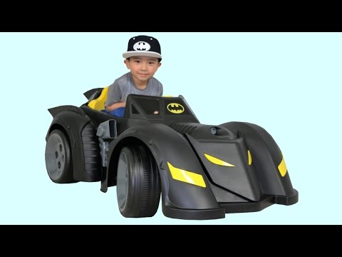 New Batman Batmobile Battery-Powered Ride-On Car Power Wheels Unboxing Test Drive With Ckn Toys