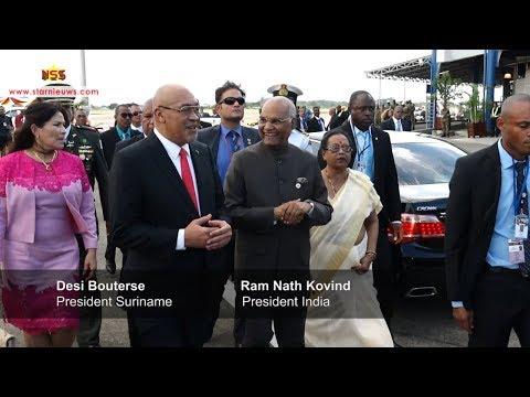 President Bouterse verwelkomt Indiaas staatshoofd