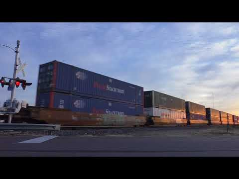 UP Golden State Route:  Bedford Park Z-intermodal at sunset  01/18/2018  # 6