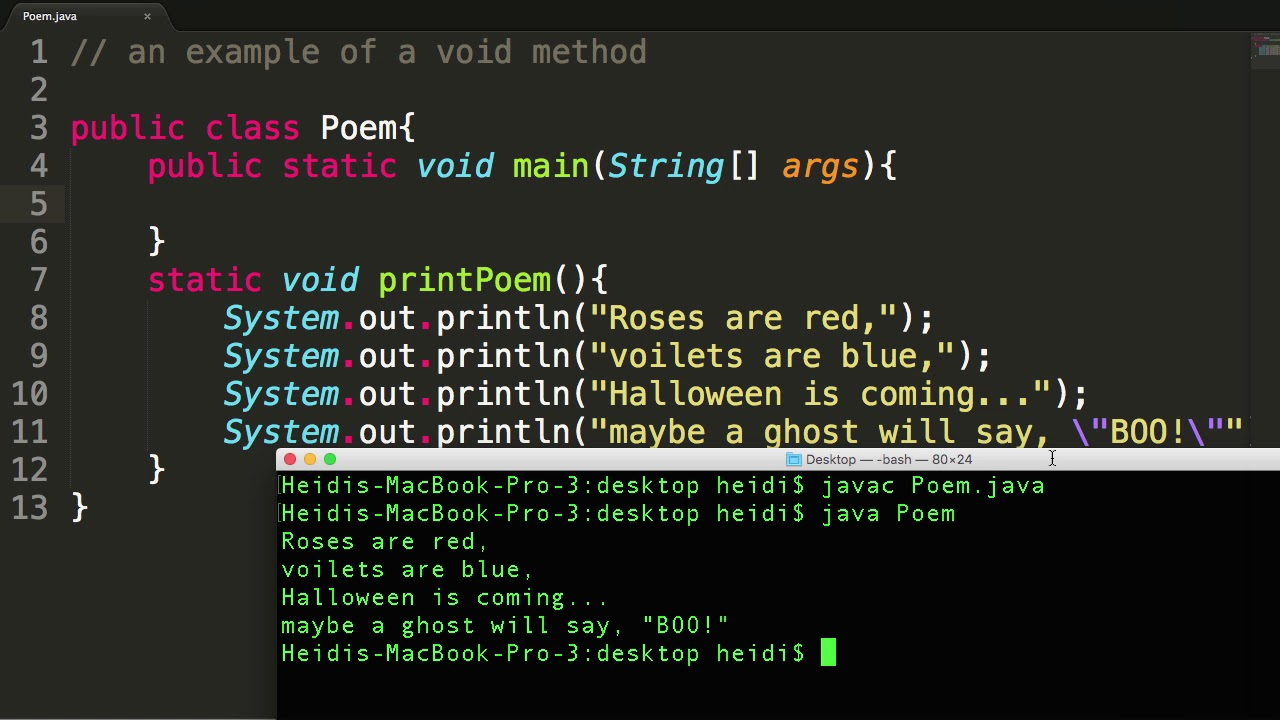 how to call a void method in java