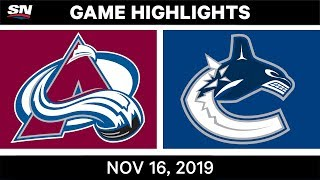 NHL Highlights | Avalanche vs Canucks - Nov. 16, 2019