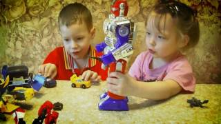 #Трансформеры великая война! Аня и Ваня играют с #роботами!