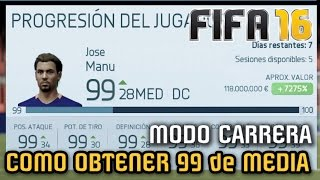 Video COMO OBTENER 99 DE VALORACION en Modo Carrera Jugador - FIFA 16 download MP3, 3GP, MP4, WEBM, AVI, FLV April 2018