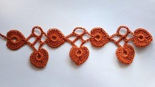 МК вязание крючком • Кайма с листочками сердечками   Как обвязать шаль