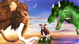 Zombie Dinosaur Vs Elephant Mammoth Fight Cow T-rex Chase Saved Woolly Mammoth Animal Fight Video
