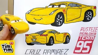 How to draw CARS 3 - Cruz Ramirez with basic structure | Easy step-by-step for kids | Art colors
