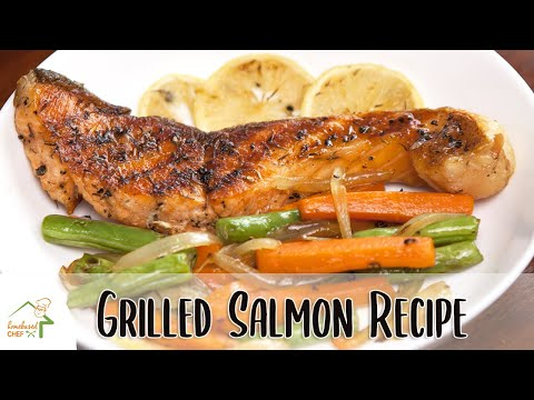 Grilled Salmon With Lemon & Thyme And Mixed Vegetables | Quick And Easy Fish Recipe | HomebasedChef