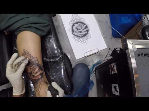 Rose Mandala Cover Up Timelapse at N.A Tattoo Studio