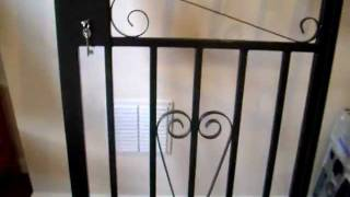 Black Iron Security Gate With Two Keys In Excellent Condition