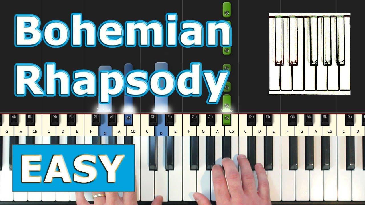Queen - Bohemian Rhapsody - Piano Tutorial Easy - Sheet Music (Synthesia)